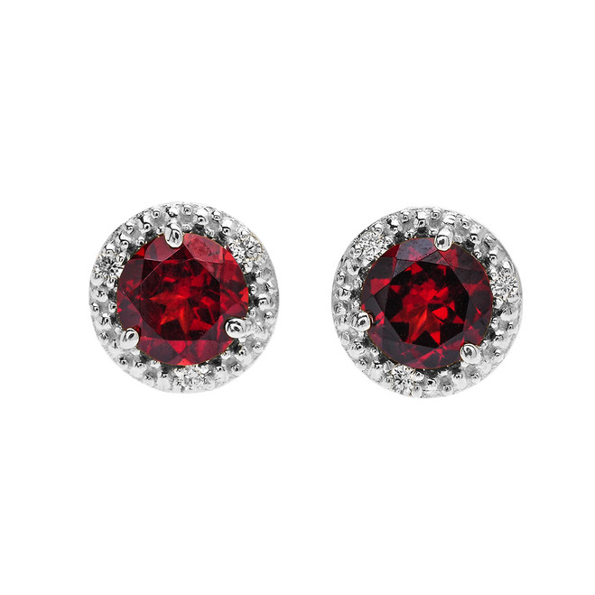 Halo Stud Earrings in White Gold with Solitaire Garnet and Diamonds