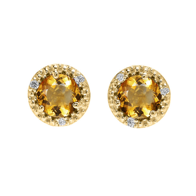 Halo Stud Earrings in Yellow Gold with Solitaire Citrine and Diamonds
