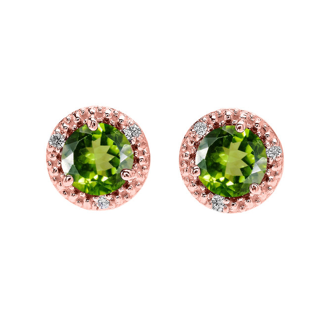 Halo Stud Earrings in Rose Gold with Solitaire Peridot and Diamonds