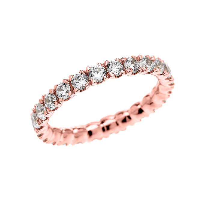 Rose Gold 2 Carat Cubic Zirconia Stackable Wedding Band