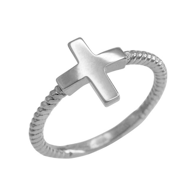 White Gold Roped Sideways Cross Ring