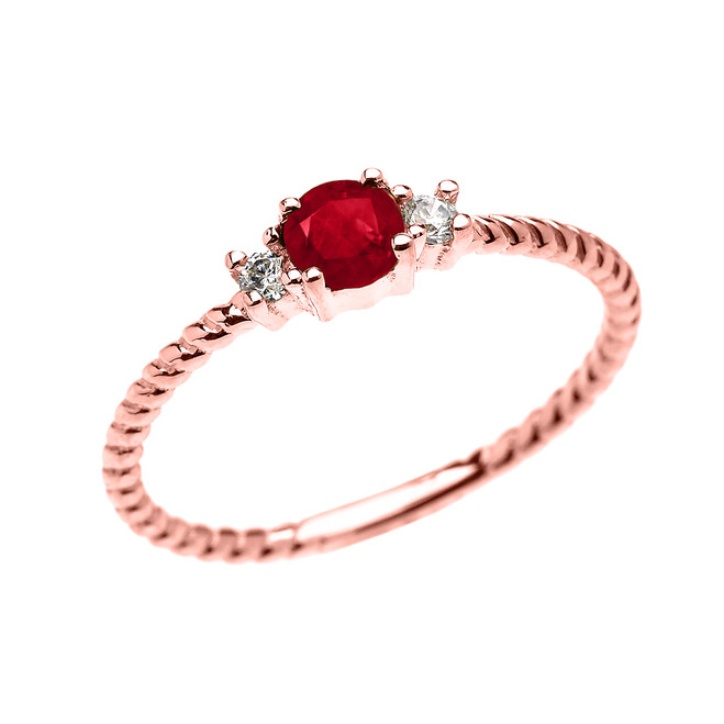 Rose Gold Dainty Solitaire Ruby and White Topaz Rope Design Promise/Stackable Ring
