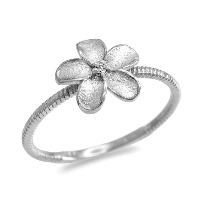 White Gold Diamond Hawaiian Plumeria Flower Ring