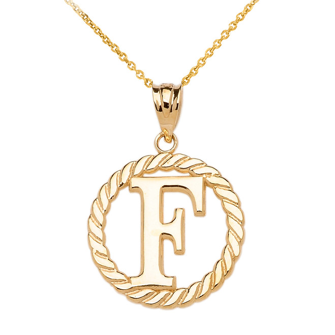"""Yellow Gold """"F"""" Initial in Rope Circle Pendant Necklace"""