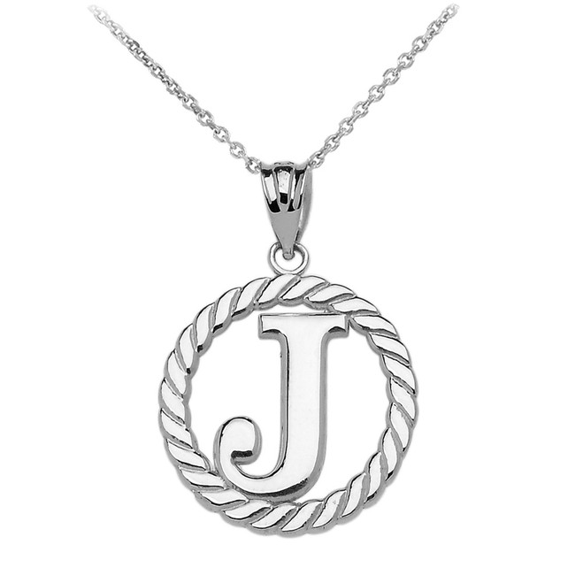 """Sterling Silver """"J"""" Initial in Rope Circle Pendant Necklace"""