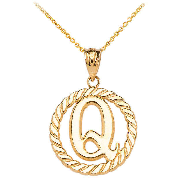 "Yellow Gold ""Q"" Initial in Rope Circle Pendant Necklace"