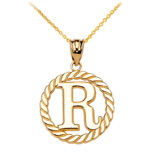 "Yellow Gold ""R"" Initial in Rope Circle Pendant Necklace"