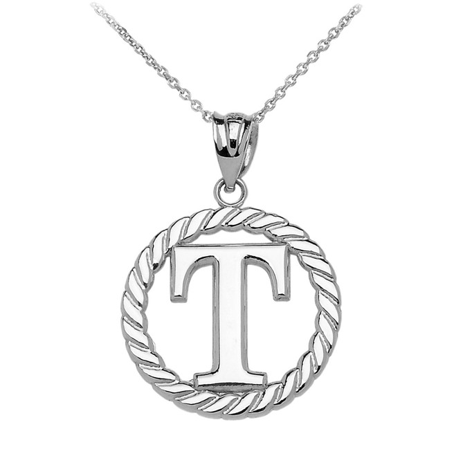 "Sterling Silver ""T"" Initial in Rope Circle Pendant Necklace"