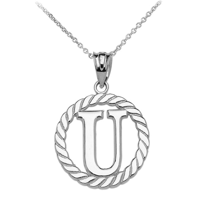 """White Gold """"U"""" Initial in Rope Circle Pendant Necklace"""