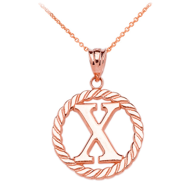 """Rose Gold """"X"""" Initial in Rope Circle Pendant Necklace"""