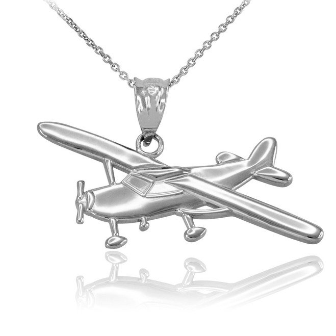 White Gold Airplane Pendant Necklace