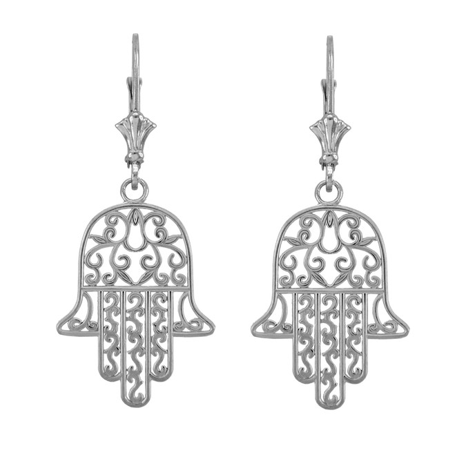 14k White Gold Hamsa Earrings