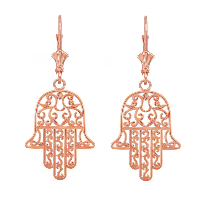 14k Rose Gold Hamsa Earrings