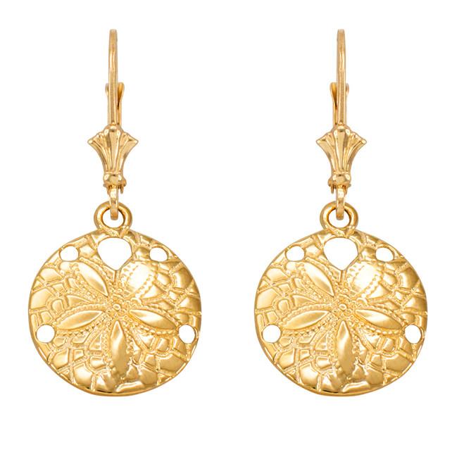 14K Yellow Gold Sand Dollar Earrings