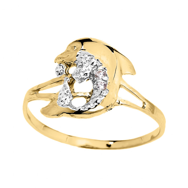 Dainty Yellow Gold CZ Dolphin Ring