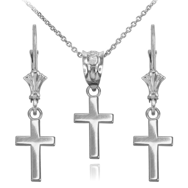 14k White Gold Smooth Mini Cross Necklace Earring Set
