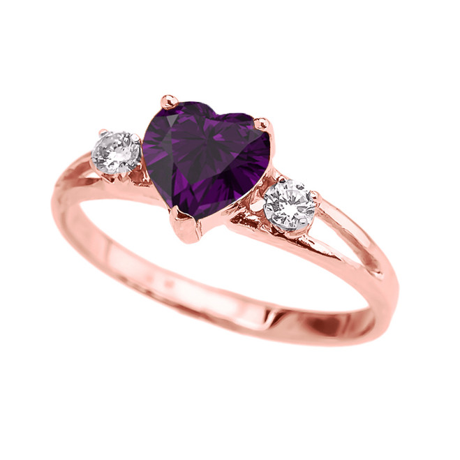 Rose Gold Amethyst Heart Proposal/Promise Ring