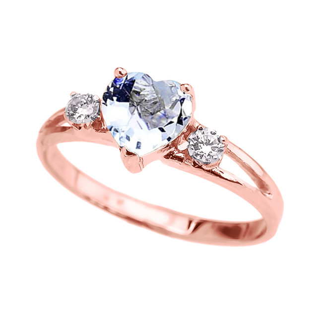 Rose Gold March Birthstone CZ Heart Proposal/Promise Ring