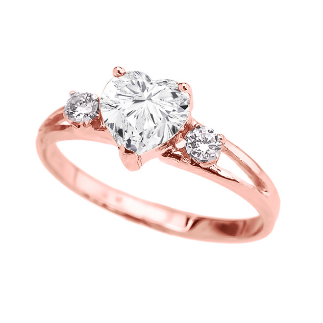 Rose Gold Cubic Zirconia Heart Proposal/Promise Ring