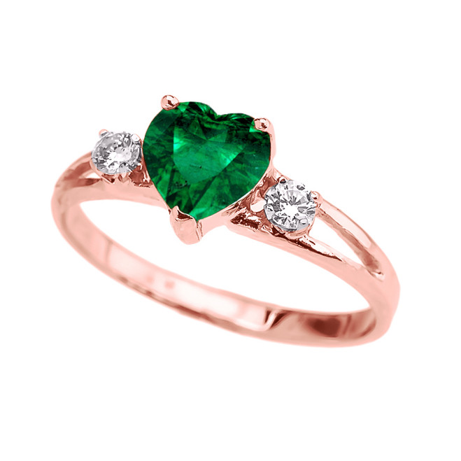 Rose Gold White Topaz And  (LCE) Emerald Heart Proposal/Promise Ring