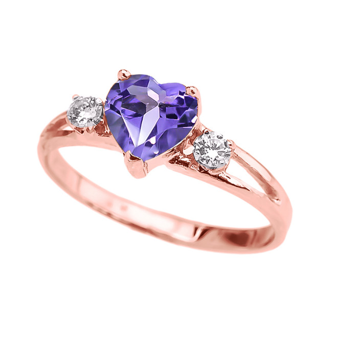 Rose Gold CZ Alexandrite Heart Proposal/Promise Ring