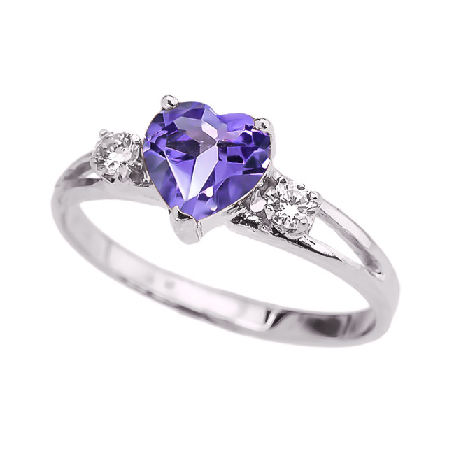 White Gold CZ Alexandrite Heart Proposal/Promise Ring