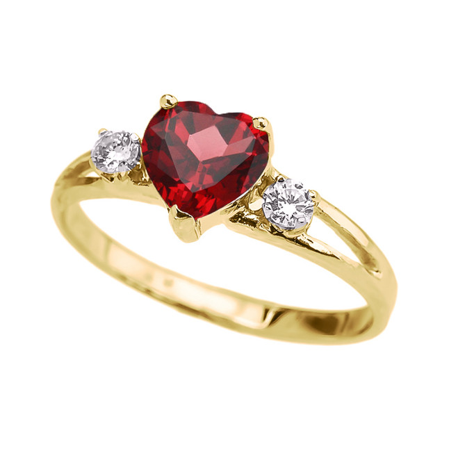 Yellow Gold Heart (LCR) Ruby And White Topaz Proposal/Promise Ring