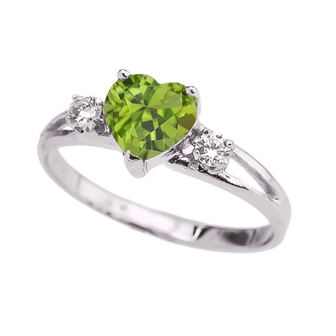 White Gold Peridot Heart Proposal/Promise Ring
