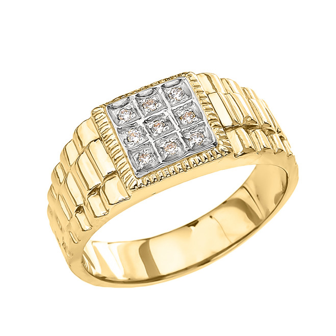 Yellow Gold Diamond Watch Band Design Men's Ring