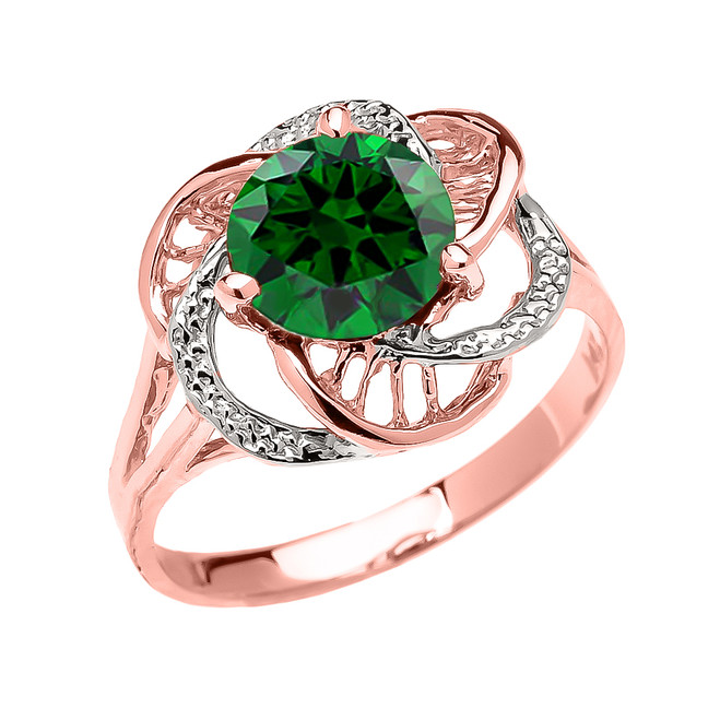Rose Gold  (LCE) Emerald Solitaire Modern Flower Ladies Ring