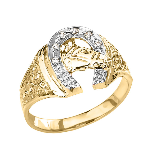 Yellow Gold Diamond Horseshoe with Horse Head Ring