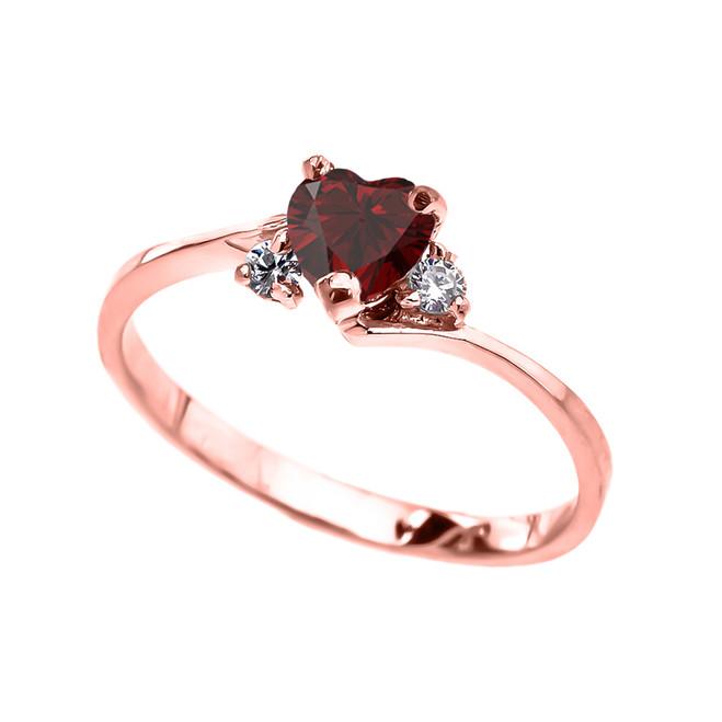 Dainty Rose Gold Garnet Heart And White Topaz Promise Ring