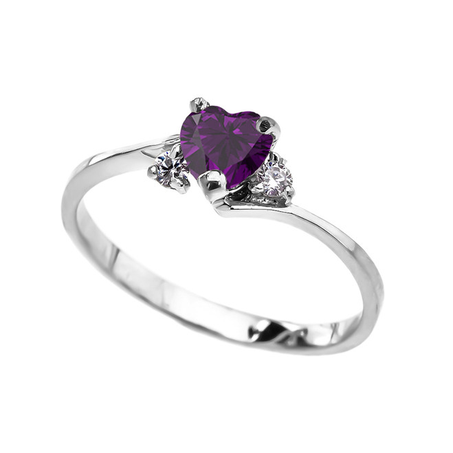 Dainty White Gold CZ Amethyst Heart Promise Ring