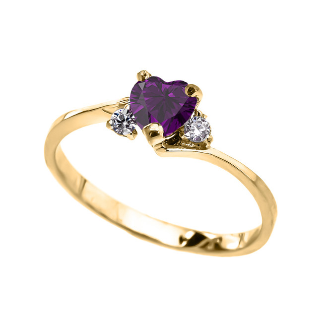 Dainty Yellow Gold CZ Amethyst Heart Promise Ring