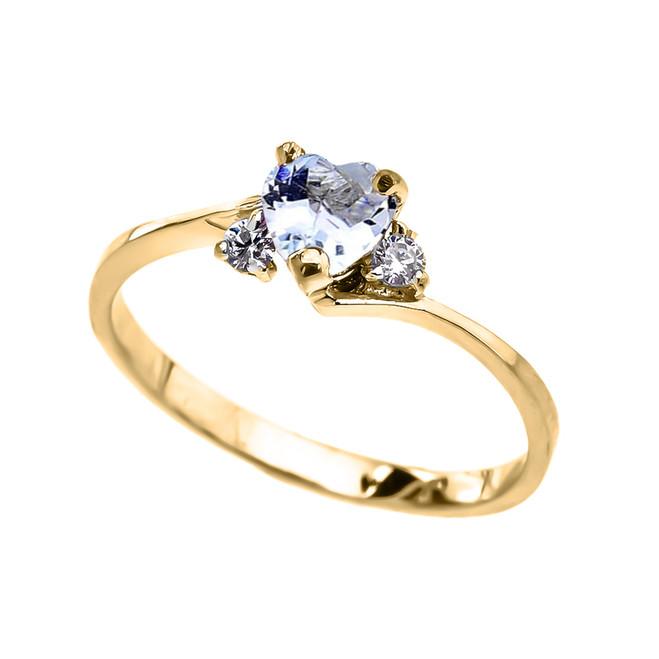 Dainty Yellow Gold Aquamarine CZ   Heart Promise Ring