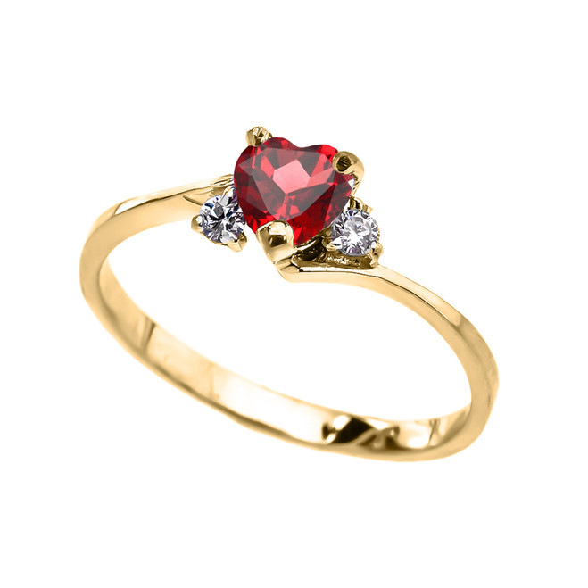 Dainty Yellow Gold (LCR) Ruby And White Topaz Heart Promise Ring