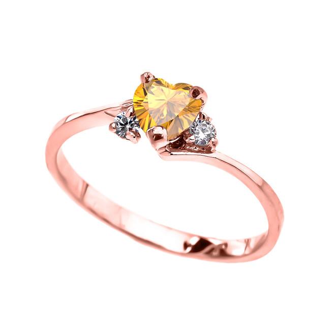 Dainty Rose Gold Citrine CZ Heart Promise Ring