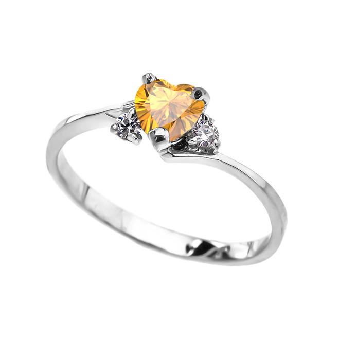 Dainty White Gold Citrine CZ Heart Promise Ring