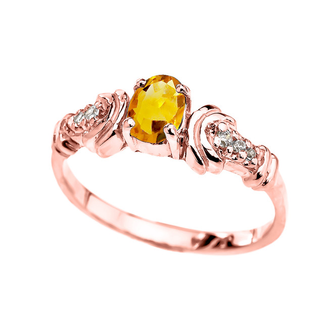 Rose Gold Diamond and Citrine Oval Solitaire Proposal Ring