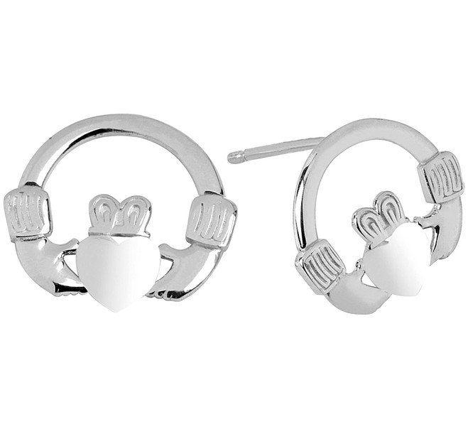 White Gold bold Claddagh Earrings