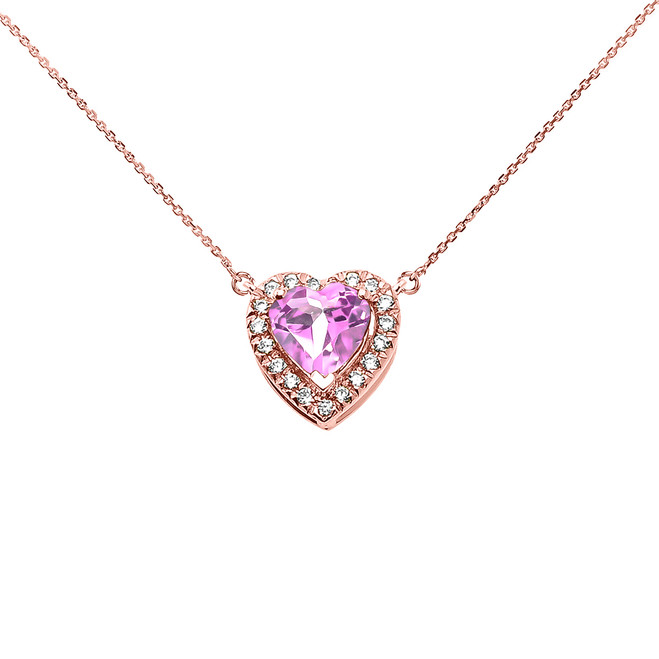 Elegant Rose Gold Diamond and October Birthstone CZ Pink Heart Solitaire Necklace