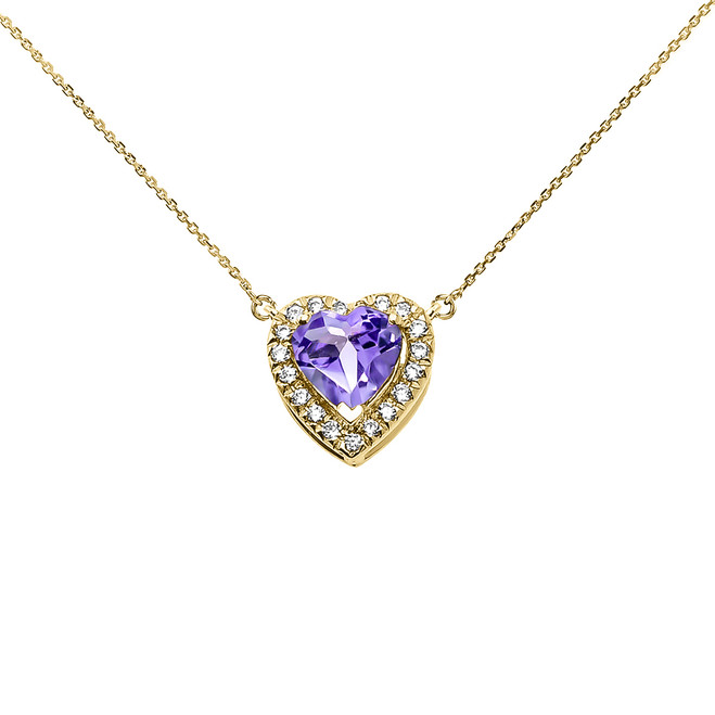 Elegant Yellow Gold Diamond and June Birthstone Heart Solitaire Necklace