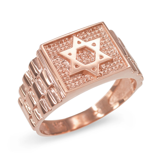 Rose Gold Star of David Watchband Ring