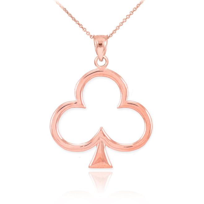 Rose Gold Clover Shamrock Pendant Necklace