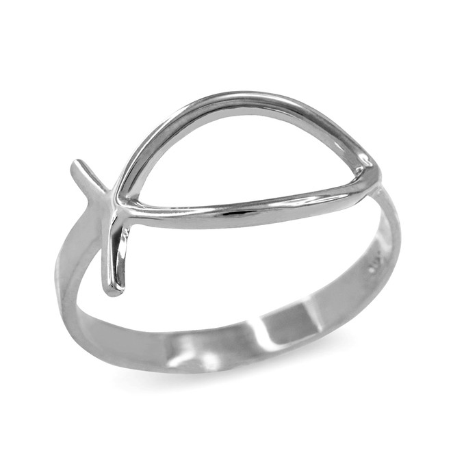Sterling Silver Christian Ichthus Ring