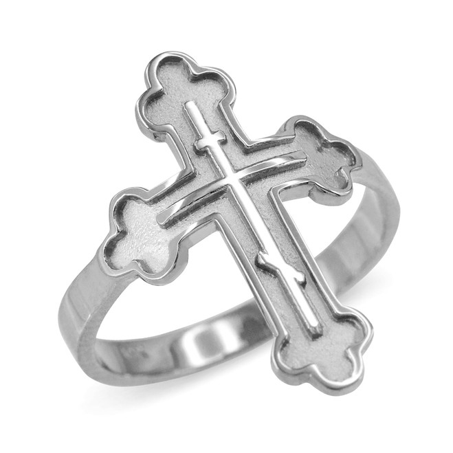 Russian Orthodox Cross Ring in Sterling Silver
