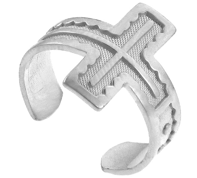 White Gold Cross Toe Ring