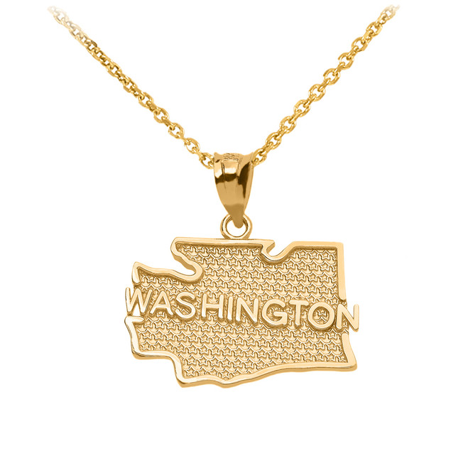 Yellow Gold Washington State Map Pendant Necklace