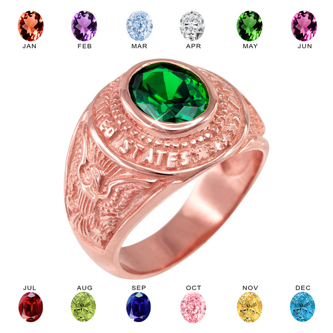 Rose Gold US Army Men's CZ Birthstone Ring