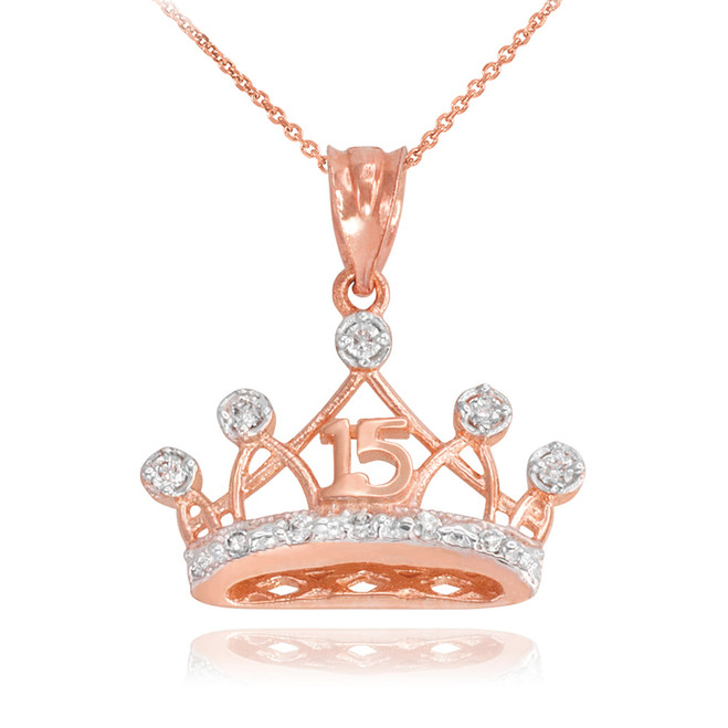 Rose Gold Quince Crown Pendant Necklace